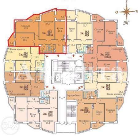 Продается 3-комнатная квартира в новострое на ул. Люстдорфская Дорога — 80 000 у.е. (фото №2)
