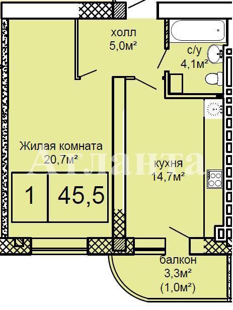 Продается 1-комнатная квартира в новострое на ул. Костанди — 44 000 у.е. (фото №2)