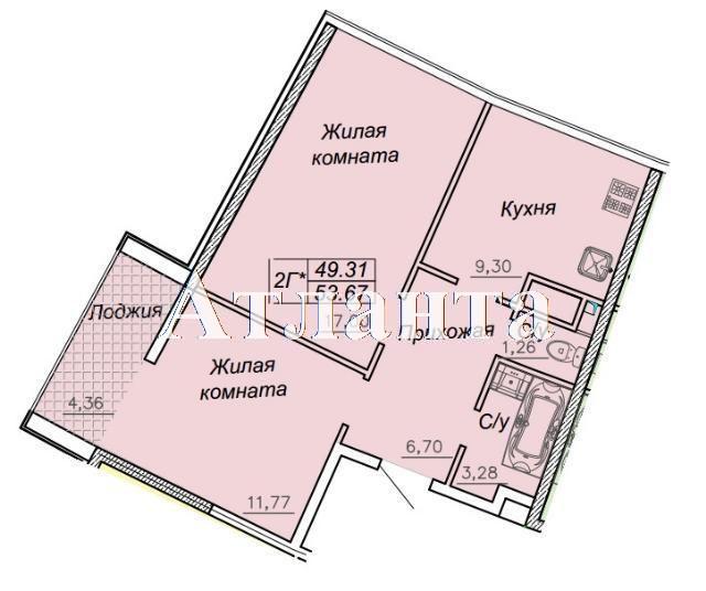 Продается 2-комнатная квартира в новострое на ул. Каманина — 64 400 у.е. (фото №2)
