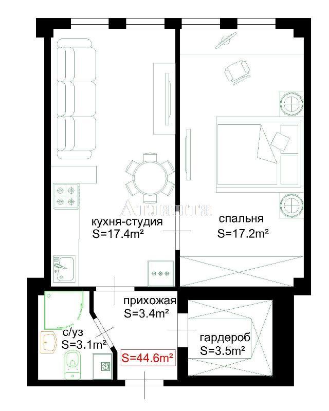 Продается 2-комнатная квартира в новострое на ул. Атамана Головатого — 35 880 у.е. (фото №2)