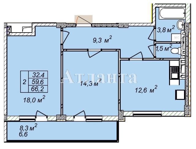 Продается 2-комнатная квартира в новострое на ул. Рихтера Святослава — 43 030 у.е.