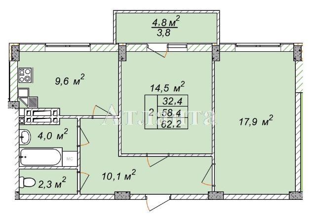 Продается 2-комнатная квартира в новострое на ул. Рихтера Святослава — 35 500 у.е.