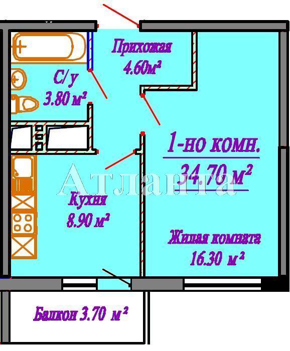 Продается 1-комнатная квартира в новострое на ул. Сахарова — 34 100 у.е. (фото №3)
