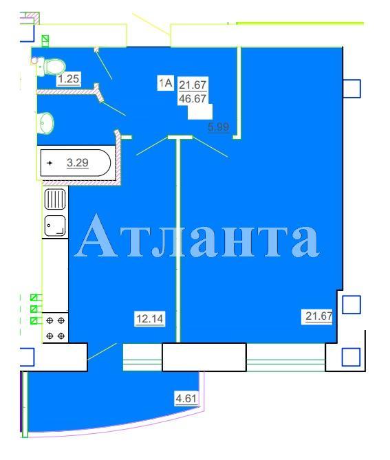 Продается 1-комнатная квартира в новострое на ул. Генерала Цветаева — 25 720 у.е.