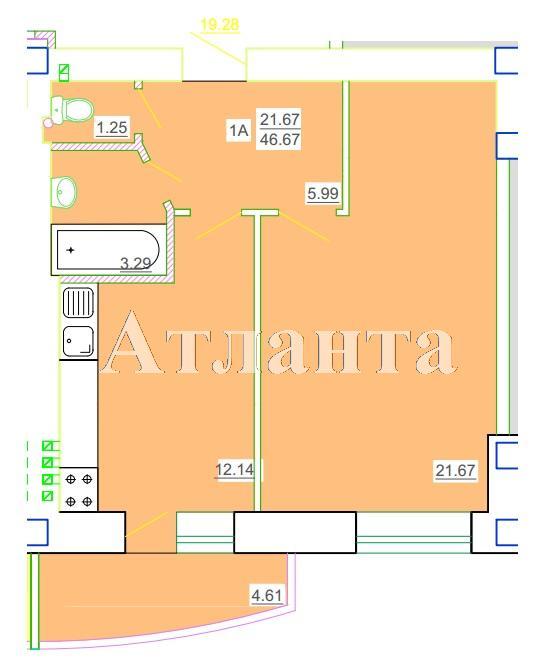 Продается 1-комнатная квартира в новострое на ул. Генерала Цветаева — 22 450 у.е.