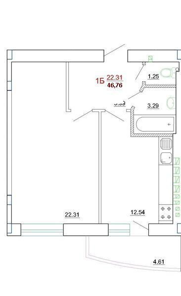 Продается 1-комнатная квартира в новострое на ул. Генерала Цветаева — 30 000 у.е. (фото №2)