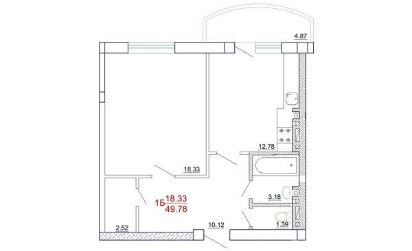 Продается 1-комнатная квартира в новострое на ул. Генерала Цветаева — 26 000 у.е.