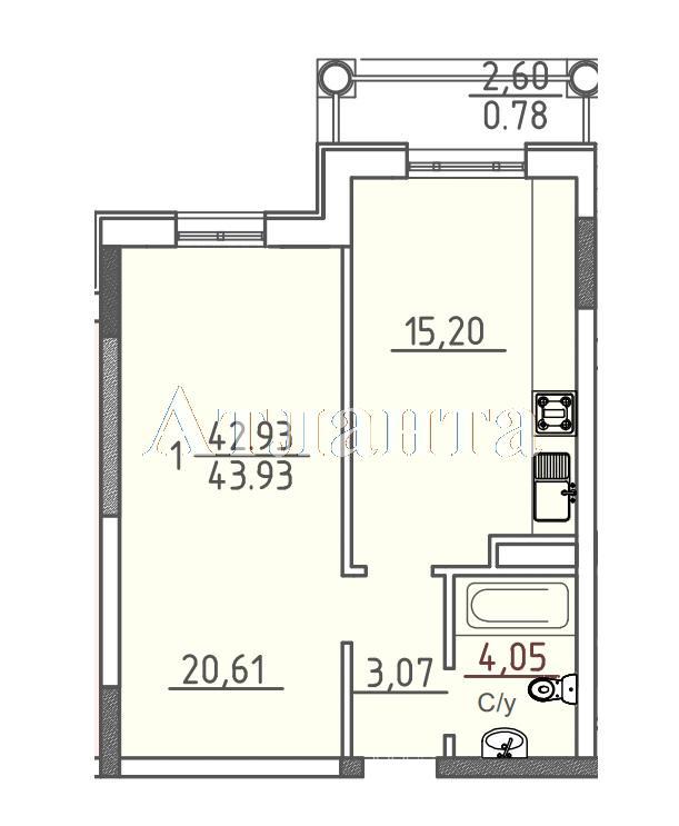 Продается 1-комнатная квартира в новострое на ул. Фонтанская Дор. — 46 140 у.е.