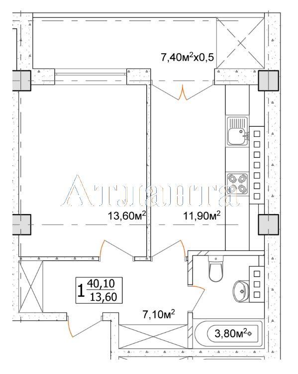 Продается 1-комнатная квартира в новострое на ул. Дача Ковалевского — 28 070 у.е.