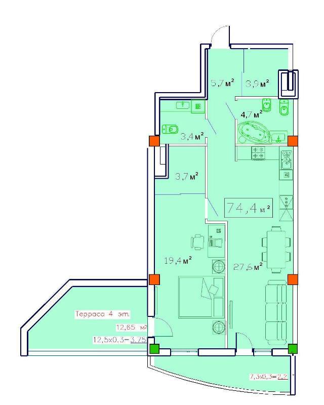 Продается 1-комнатная квартира в новострое на ул. Французский Бул. — 96 070 у.е.