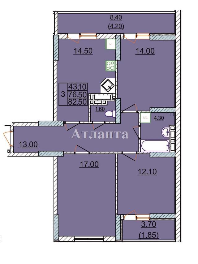 Продается 3-комнатная квартира в новострое на ул. Левитана — 57 000 у.е.
