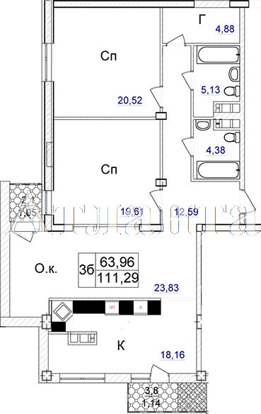 Продается 3-комнатная квартира в новострое на ул. Отрадная — 180 520 у.е.