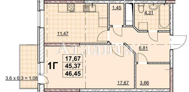 Продается 1-комнатная квартира в новострое на ул. Жаботинского — 36 420 у.е.