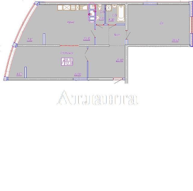 Продается 2-комнатная квартира в новострое на ул. Аркадиевский Пер. — 130 300 у.е.
