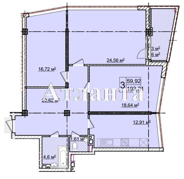 Продается 3-комнатная квартира в новострое на ул. Фонтанская Дор. — 133 520 у.е.