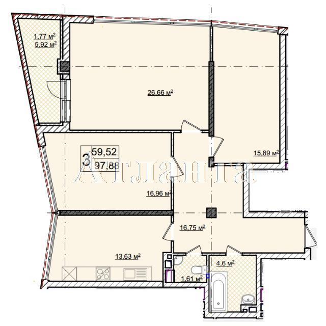 Продается 3-комнатная квартира в новострое на ул. Фонтанская Дор. — 129 940 у.е.