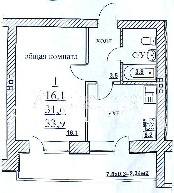 Продается 1-комнатная квартира на ул. Центральная — 19 000 у.е. (фото №3)