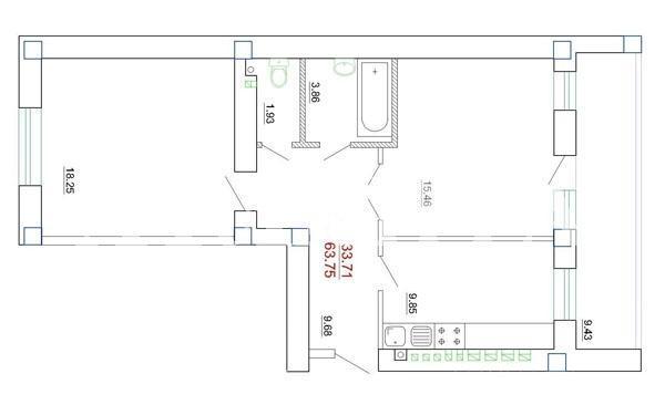 Продается 2-комнатная квартира в новострое на ул. Генерала Цветаева — 45 000 у.е.