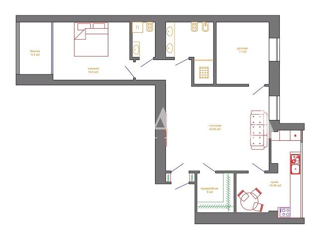 Продается 3-комнатная квартира на ул. Центральная — 75 000 у.е. (фото №3)