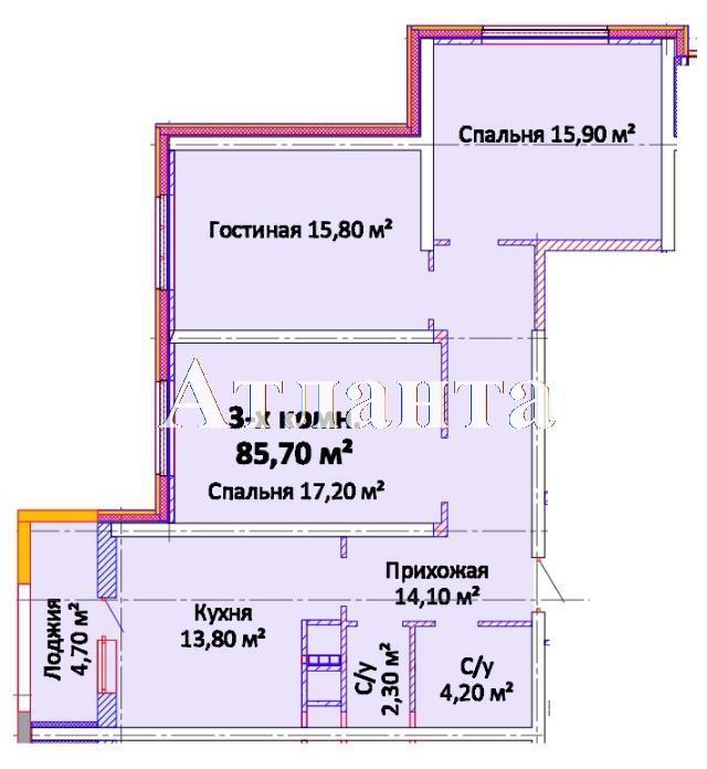 Продается 3-комнатная квартира в новострое на ул. Канатная — 62 050 у.е. (фото №3)