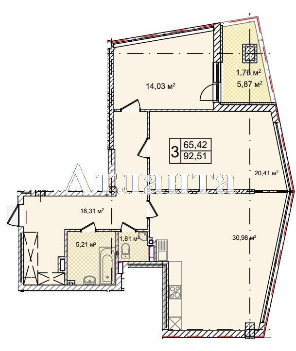 Продается 3-комнатная квартира в новострое на ул. Фонтанская Дор. — 122 580 у.е. (фото №7)