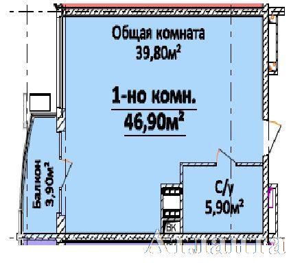 Продается 1-комнатная квартира в новострое на ул. Гагарина Пр. — 41 500 у.е.