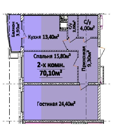 Продается 2-комнатная квартира в новострое на ул. Гагарина Пр. — 56 700 у.е. (фото №2)