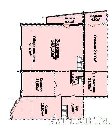 Продается 3-комнатная квартира в новострое на ул. Новобереговая — 176 500 у.е. (фото №2)