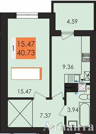 Продается 1-комнатная квартира в новострое на ул. Заболотного Ак. — 21 170 у.е. (фото №2)