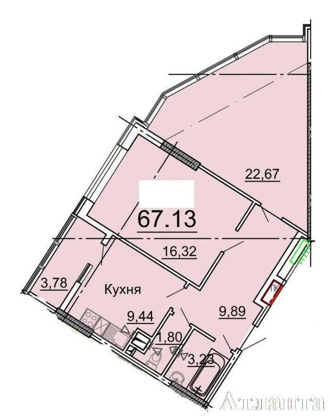 Продается 2-комнатная квартира в новострое на ул. Фонтанская Дор. — 65 100 у.е. (фото №2)