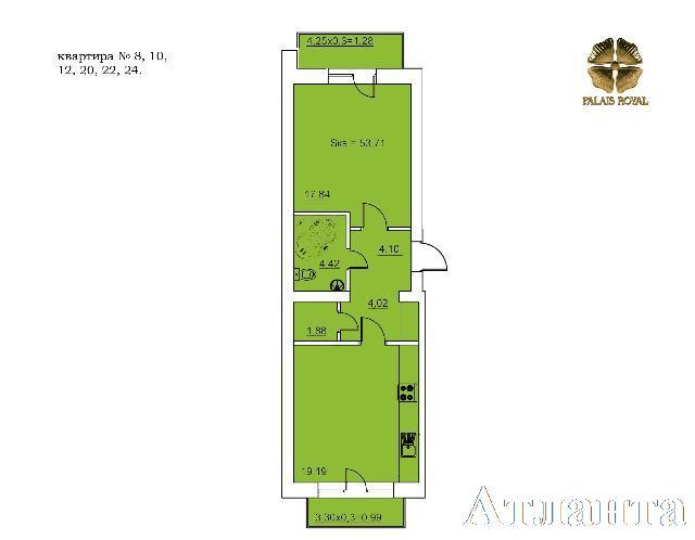 Продается 1-комнатная квартира в новострое на ул. Руанский Пер. — 64 400 у.е. (фото №2)
