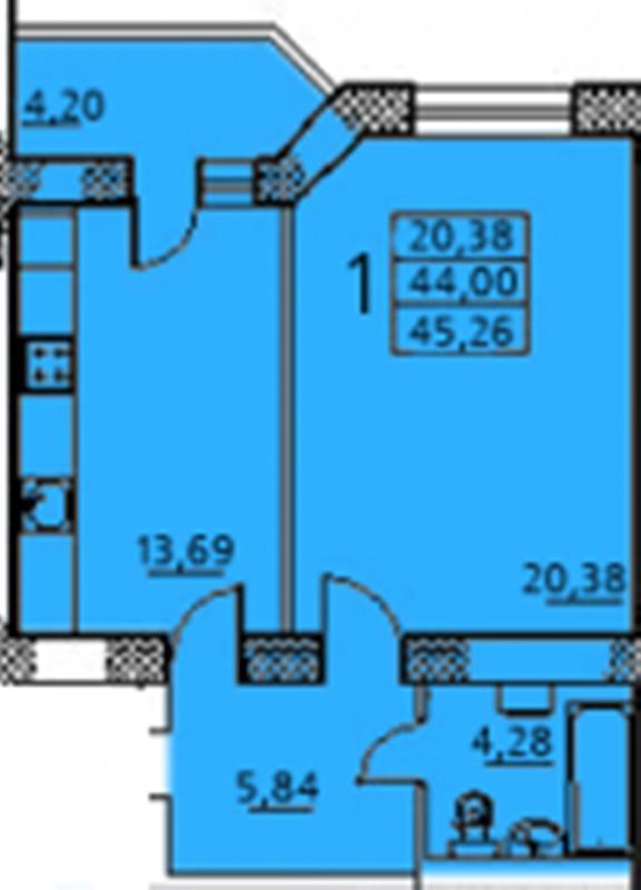 Продается 1-комнатная квартира в новострое на ул. Заболотного Ак. — 35 900 у.е. (фото №3)