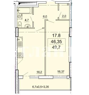 Продается 1-комнатная квартира в новострое на ул. Педагогическая — 47 200 у.е. (фото №2)