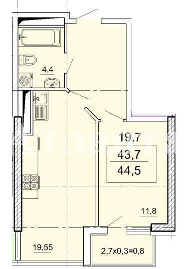 Продается 1-комнатная квартира в новострое на ул. Педагогическая — 43 400 у.е. (фото №2)
