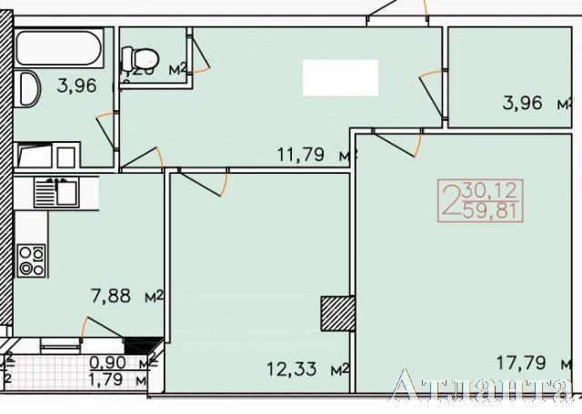 Продается 2-комнатная квартира в новострое на ул. Жемчужная — 55 000 у.е.