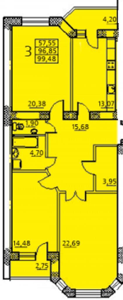Продается 3-комнатная квартира в новострое на ул. Заболотного Ак. — 67 770 у.е. (фото №2)
