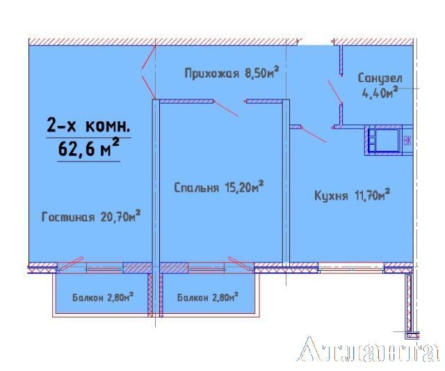 Продается 2-комнатная квартира в новострое на ул. Люстдорфская Дорога — 51 000 у.е. (фото №2)