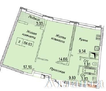 Продается 2-комнатная квартира в новострое на ул. Каманина — 45 840 у.е. (фото №2)