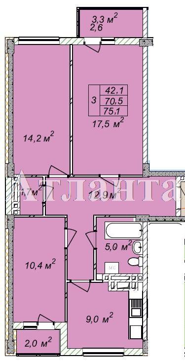 Продается 3-комнатная квартира в новострое на ул. Рихтера Святослава — 48 440 у.е.
