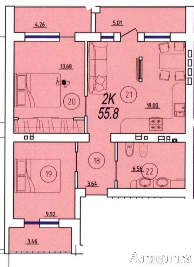 Продается 2-комнатная квартира в новострое на ул. Бочарова Ген. — 27 370 у.е. (фото №2)