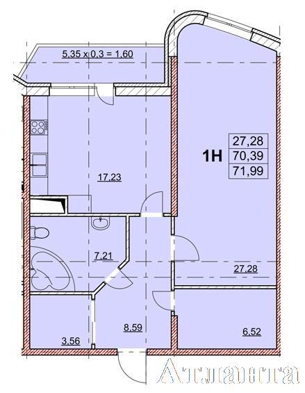 Продается 1-комнатная квартира в новострое на ул. Гагаринское Плато — 60 210 у.е. (фото №2)
