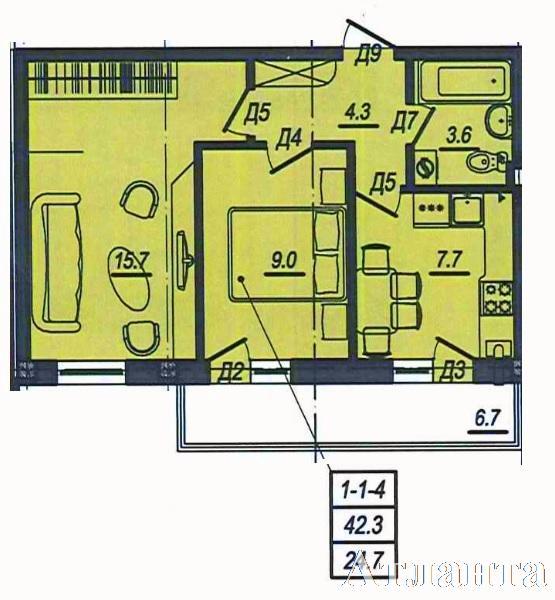 Продается 2-комнатная квартира в новострое на ул. Люстдорфская Дорога — 41 450 у.е. (фото №3)