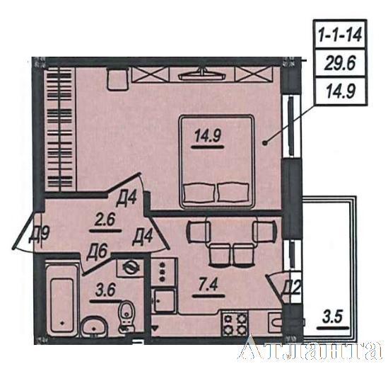 Продается 1-комнатная квартира в новострое на ул. Люстдорфская Дорога — 25 180 у.е. (фото №3)