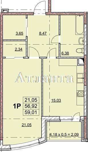 Продается 1-комнатная квартира в новострое на ул. Гагаринское Плато — 55 910 у.е. (фото №2)