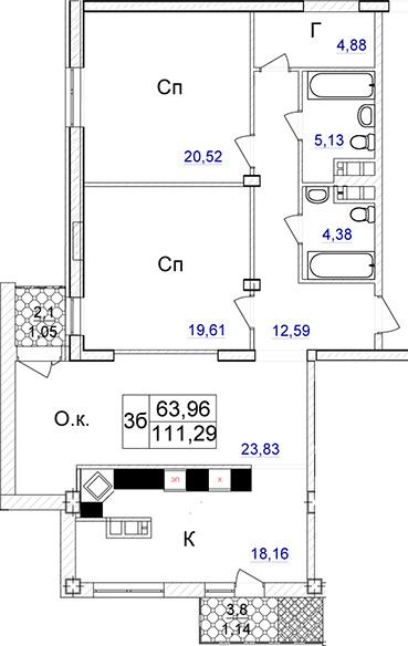 Продается 2-комнатная квартира на ул. Отрадная — 235 400 у.е. (фото №2)