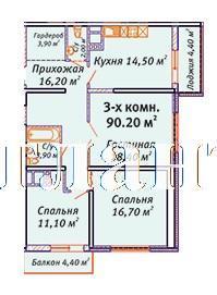 Продается 3-комнатная квартира на ул. Среднефонтанская — 90 540 у.е.