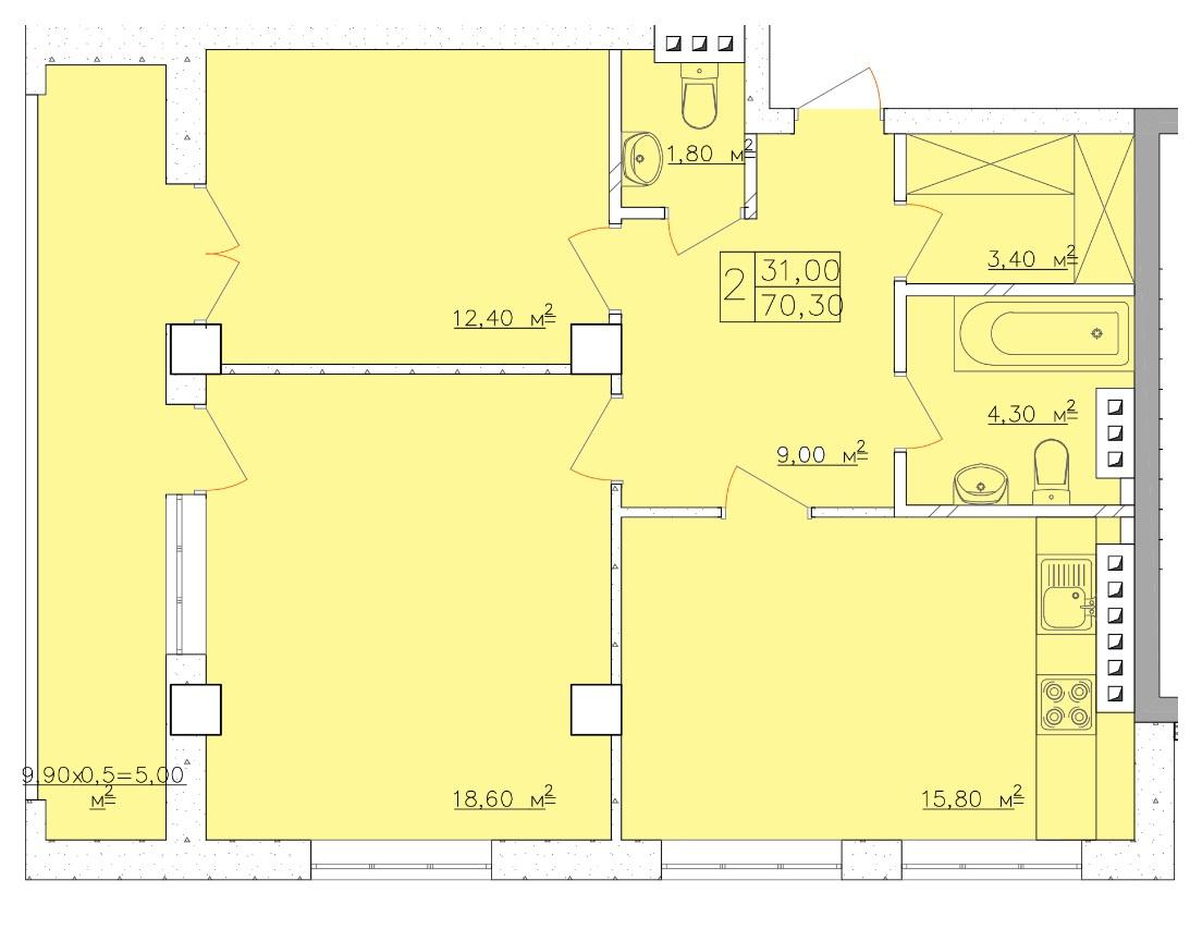 Продается 2-комнатная квартира на ул. Дача Ковалевского (Амундсена) — 52 730 у.е. (фото №4)