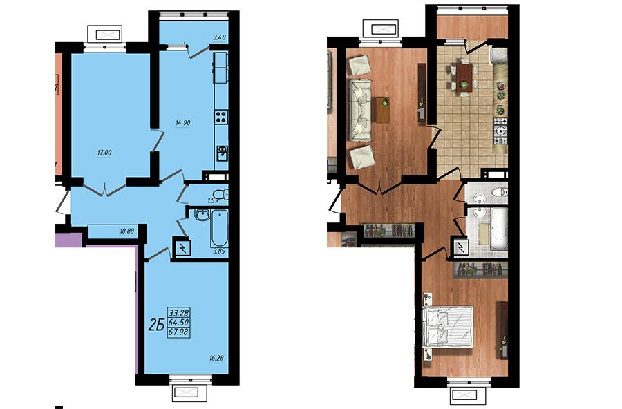 Продается 2-комнатная Квартира на ул. Жм Дружный — 40 880 у.е. (фото №4)