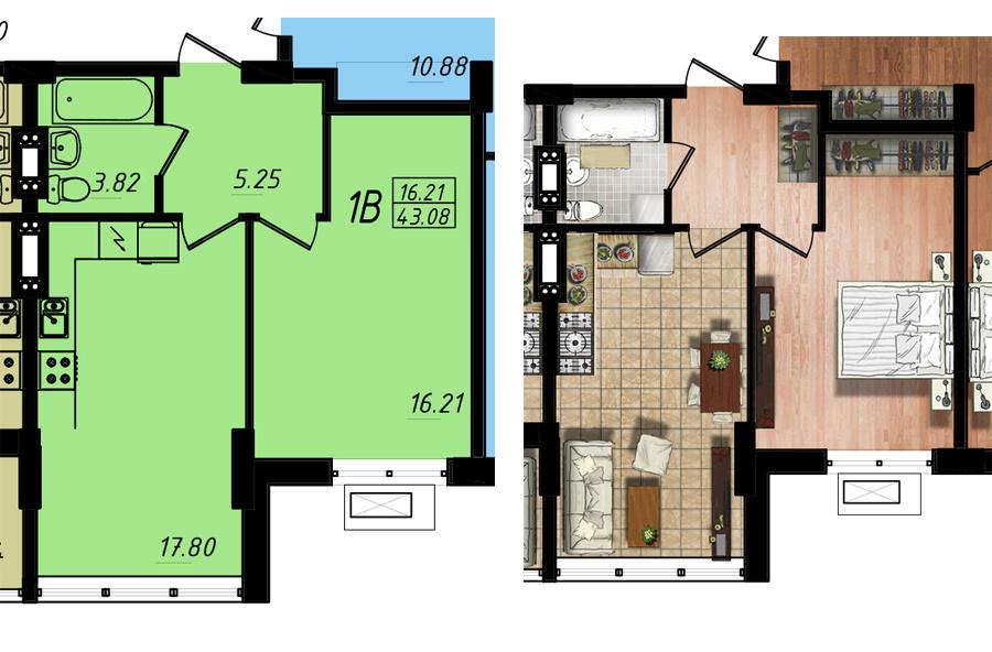 Продается 1-комнатная квартира на ул. Жм Дружный — 24 450 у.е. (фото №5)