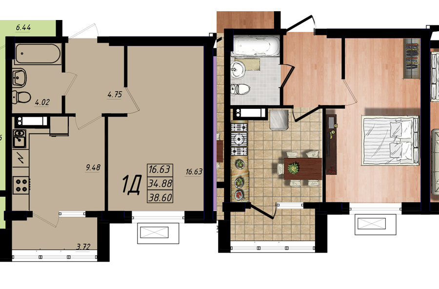 Продается 1-комнатная квартира на ул. Жм Дружный — 23 160 у.е. (фото №5)